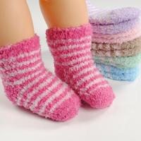6 Pairs Winter Cute Striped Lovely Baby Socks Cotton Warm Children Sock Suitable For 0-1 Years Old -- SKA07 PA15 Retail