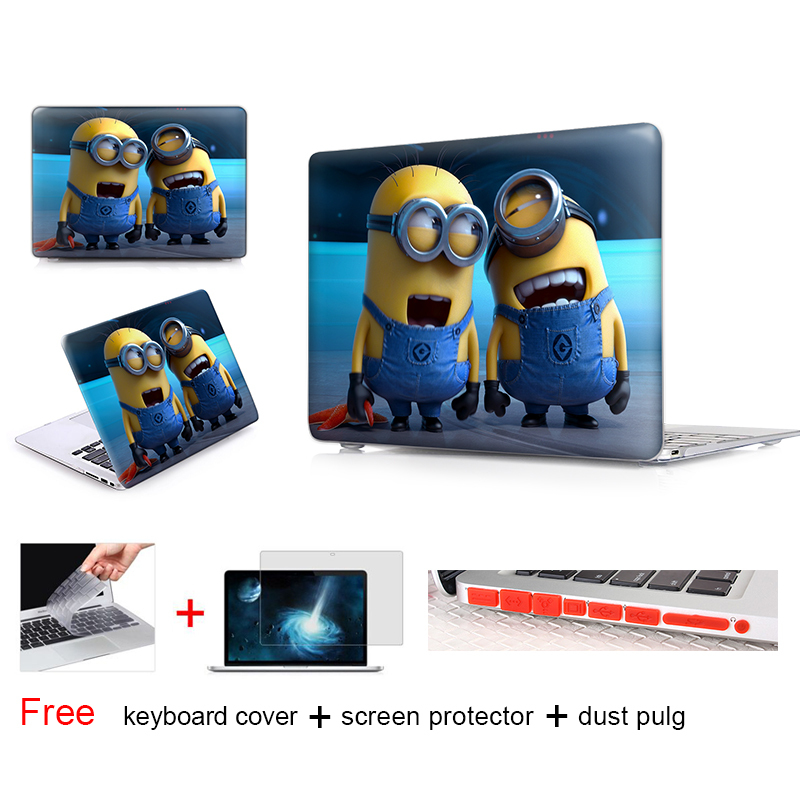 Lovely Two Minions Matte Hard Crystal Notebook Case Bags For Apple Macbook Air 11 Case For Macbook Case For Mac Air Case(China (Mainland))