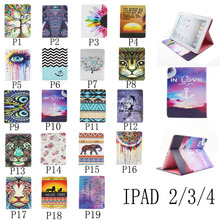 Wholesale wallet flip tablet leather case for Apple iPad4 Tablet 2 3 4 beatutiful tablet protect cover with stand holder(China (Mainland))