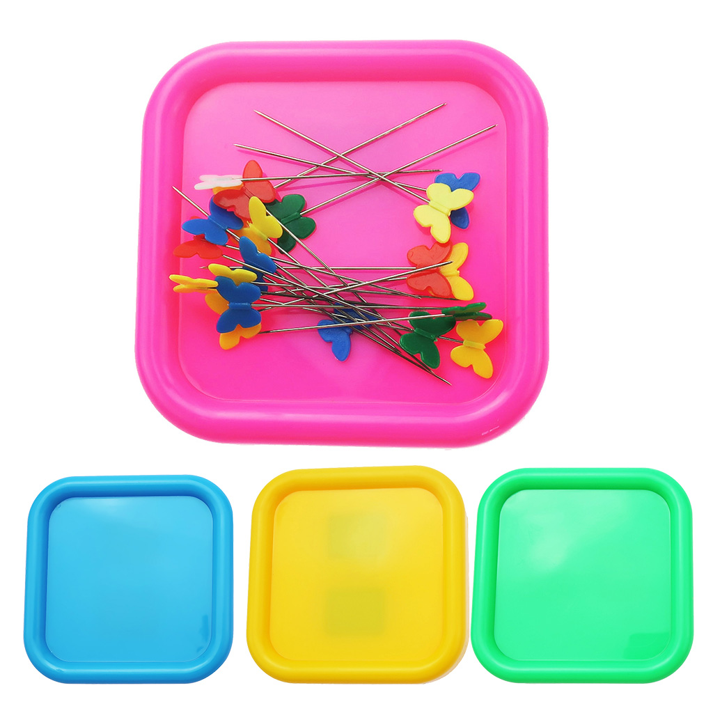 Exceart Magnetic Sewing Pincushion Round Pins Caddy Push Pins Holder Sewing Quilting Pins Storage Holder Pink