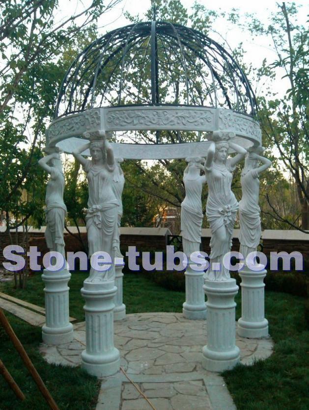 Buy marble women sculpture columns gazebo - Gazebo styles for outdoor elegance ...