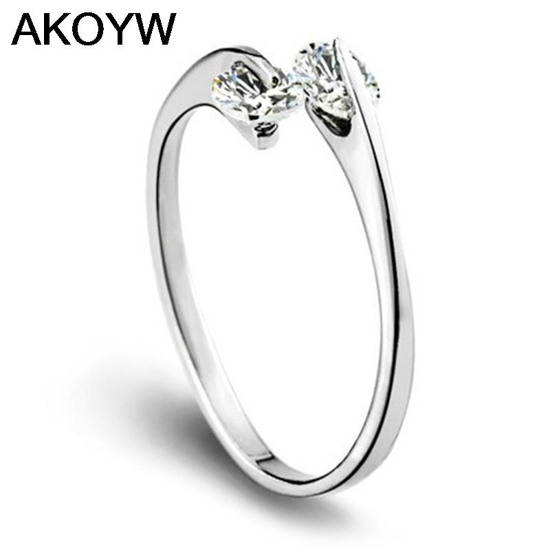 Silver plated ring opening wild double crystal jewelry lady lovely high quality fashion jewelry manufacturers, wholesale(China (Mainland))