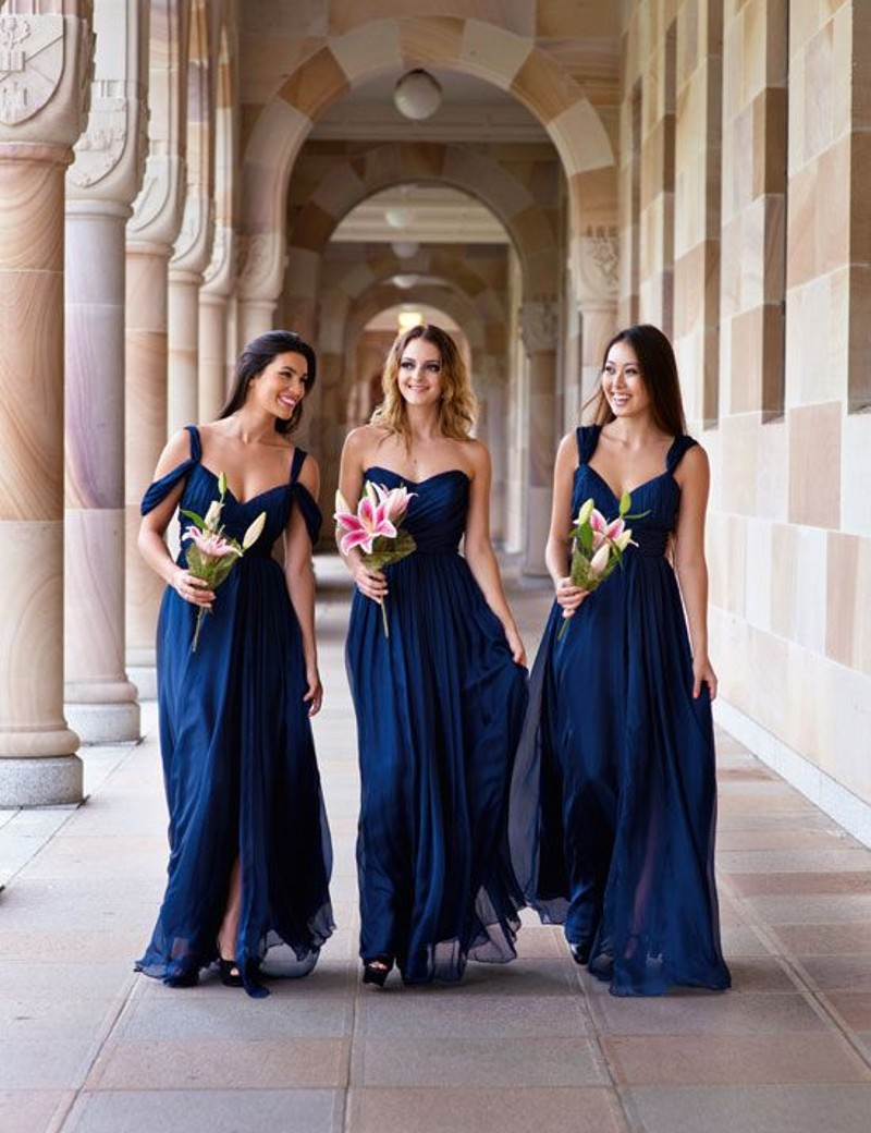 Popular navy and silver bridesmaid dresses buy cheap navy and 3 styles abc cheap bridesmaid dress navy bluepeachivory ombrellifo Image collections