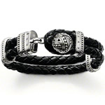 Free Shipping TS Ball Leather Bracelet Thomas Style 925 Sterling Silver Bracelet For Men, European Fashion Gift Hot Sale(China (Mainland))