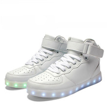 NEW Yeezy USB LED Light Shoes Men Women 7 Colors Glowing Fashion Led Shoes Flats High-top Adults Lumineuse Shoes Big Size 35-46(China (Mainland))