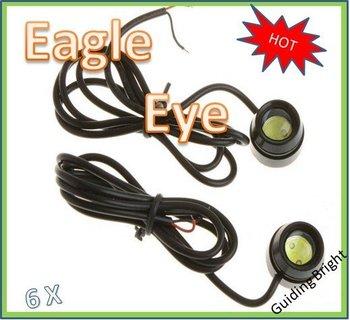 Free shipping 6pcs/lot  1.5W 12V car led reversing light eagle eye lamp Backup Stop Tail daytime running light  big eye