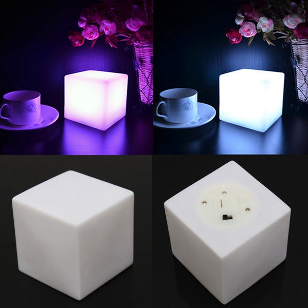 LED Colorful Changing Mood Cubes Night Glow Lamp Light Gadget Gizmo Home Decor Romantic Lighting 7 Color(China (Mainland))