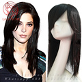 18 Human real hair toupee side fringe hair replacement clip in woman hairpiece Top toupee system
