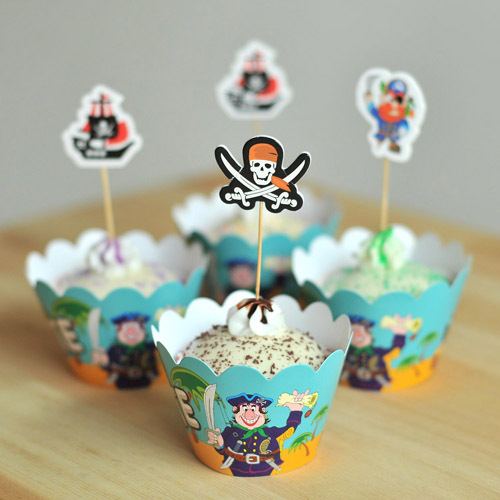 movie pirate paper cupcake 12 pcs wrappers+12 pcs toppers boys kids favor festival birthday party decoration supplies wholesale(China (Mainland))