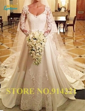 High quality Lace see through Wedding Dresses 2016 scoop long sleeves Appliques princess Bride dress wedding gown custom size(China (Mainland))