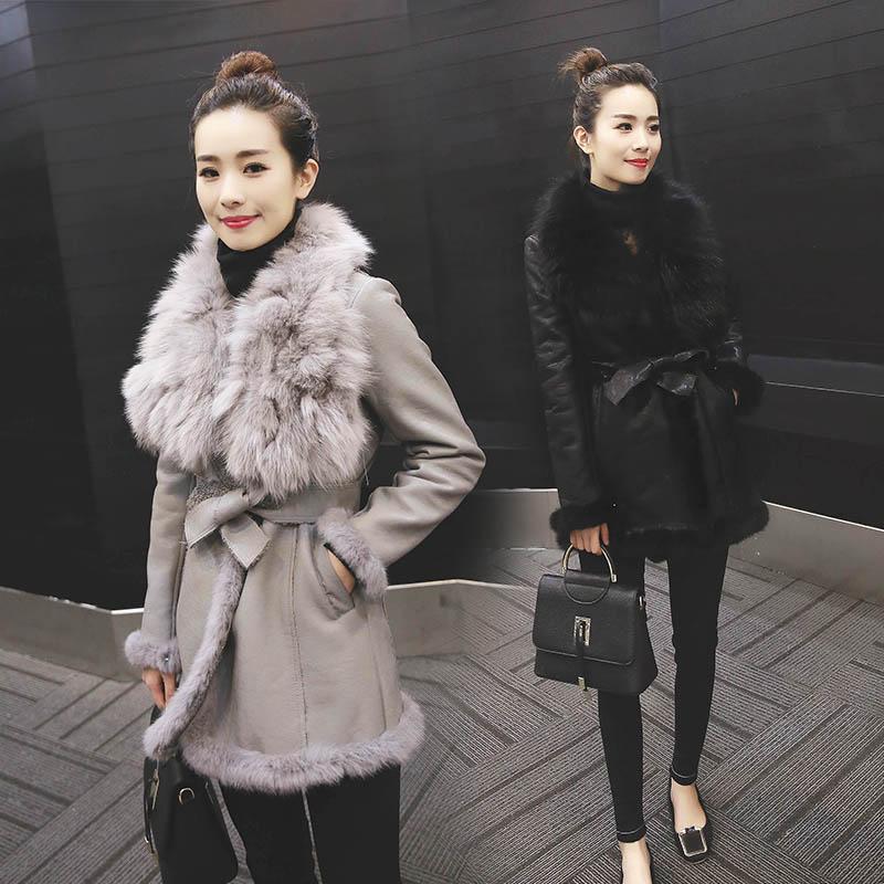 High quality women s winter medium long 2015 fox large fur collar fur one piece thickening