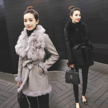 High quality women's winter medium-long 2015 fox large fur collar fur one piece thickening leather clothing outerwear female