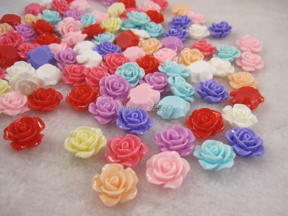 100pcs/bag sale resin accessories beautiful 10mm flower 009002002001 - HH crafts store