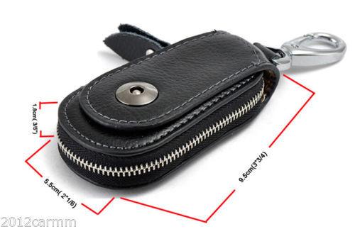 Universal Black Genuine Cow Leather Car Auto Key Case Remote Keychain Bag Pauch(China (Mainland))