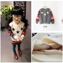 New Fashion Boys&Girls Thickening Warm Winter Clothes Jersey Star Print Colorfull Sleeve Patched Kids Fleece Sweatshirt Pullover(China (Mainland))