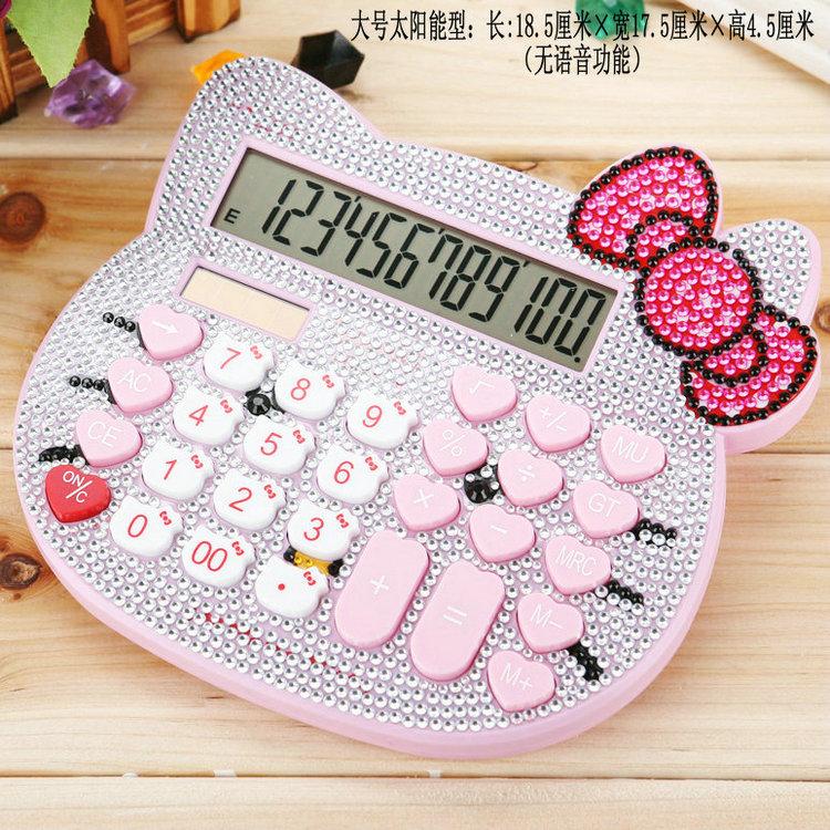 large cute diamond hello kitty calculator,pink glass crystal rhinestone calculator hello kitty,hellokitty cartoon girl gift(China (Mainland))
