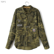 2017 Women Camouflage Blouse Long Sleeve Single Pocket urn-down Collar Shirt Casual Blusas Femininas(China (Mainland))