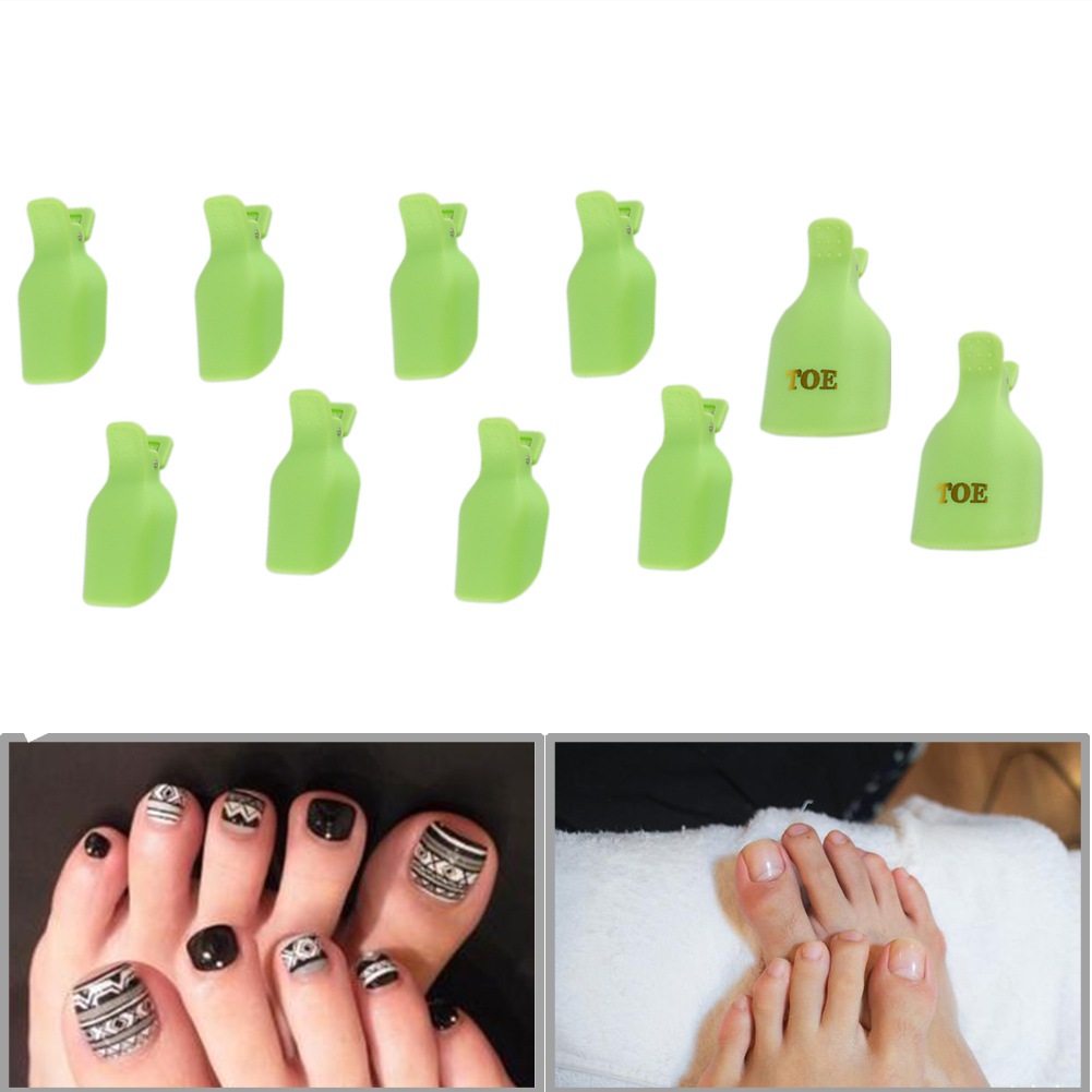 10pcs/lot Plastic Nail Art Soak Off Cap Clip UV Gel Polish Remover Wrap Nail Tools Cleaner Soakers Set for Nails Green(China (Mainland))