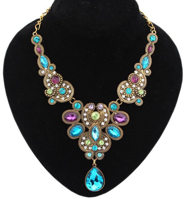 Star Jewelry New Choker Fashion Necklaces Women 2015 Luxury Color Stone Bohemia Water Drop Pendant Statement Necklace - Mamojko Store store