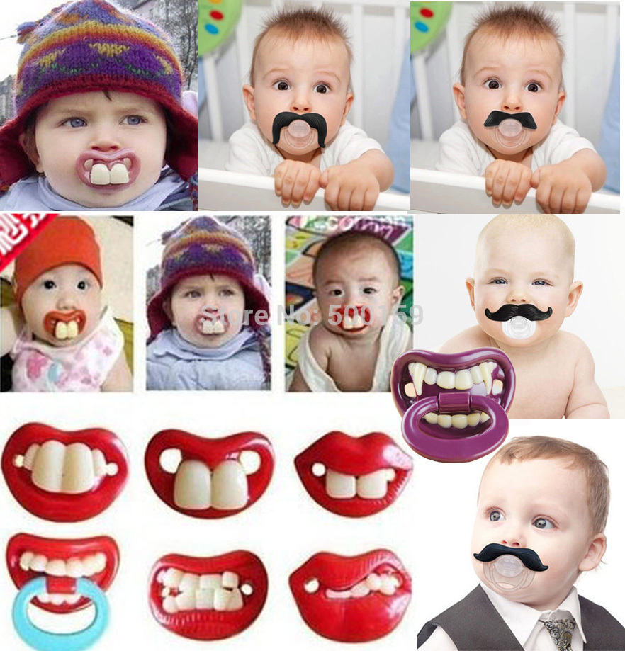 US selling cute baby teeth lips mustache funny creative silicone pacifier(China (Mainland))