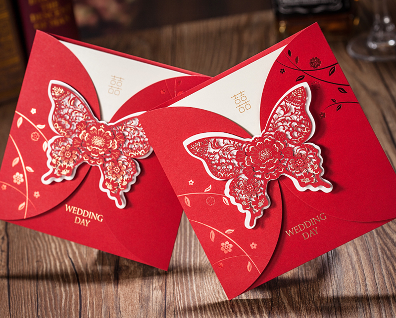 2015 debut laser cut big butterfly invitation , creative red wedding invitation designs , wedding invitation suppliers(China (Mainland))