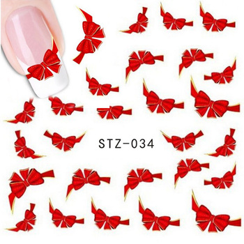 1 Sheet Fashion Red Bow Design Nail Art Nail Decals Water Transfer Stickers Decoration DIY Nail Art Accessories Tools STZ-034