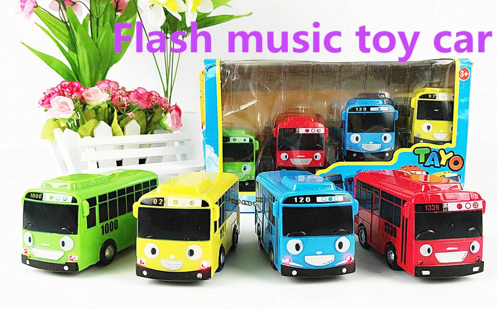 4pcs/set Korean Cute Cartoons Tayo the little bus mini plastic oyuncak araba car model tayo bus for kids gift educational toys(China (Mainland))