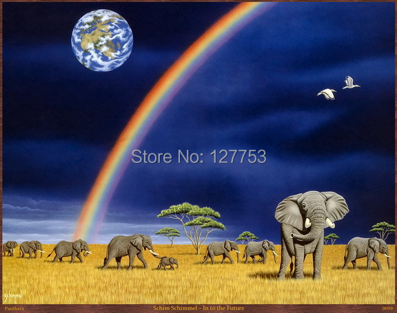 Modern Home Decor sitting room decorate Art Wall Picture Prints on Canvas Oil Painting African grassland landscape elephant106(China (Mainland))