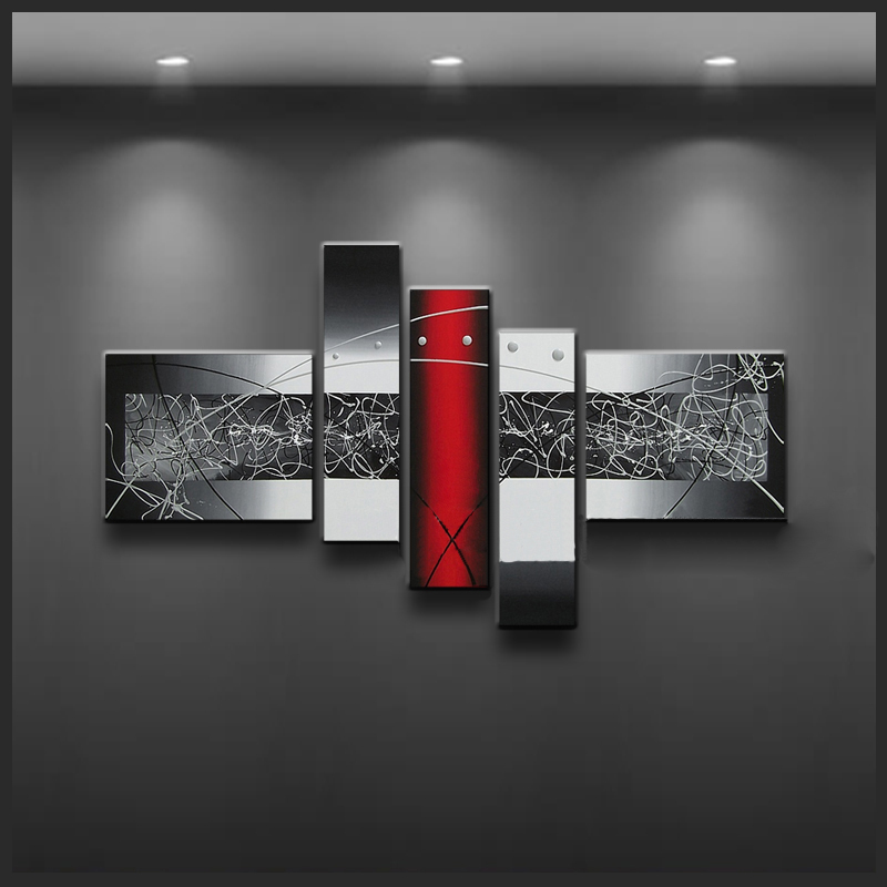 Framed 5 Panel Amazing Huge 5 Piece Canvas Wall Art Red