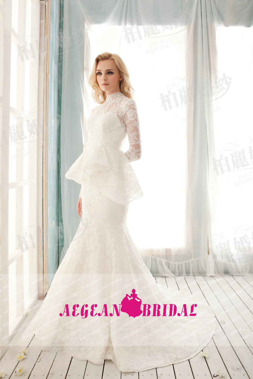 Aew028 real sample elegant white lace long sleeves luxury for Plus size mermaid wedding dresses with sleeves