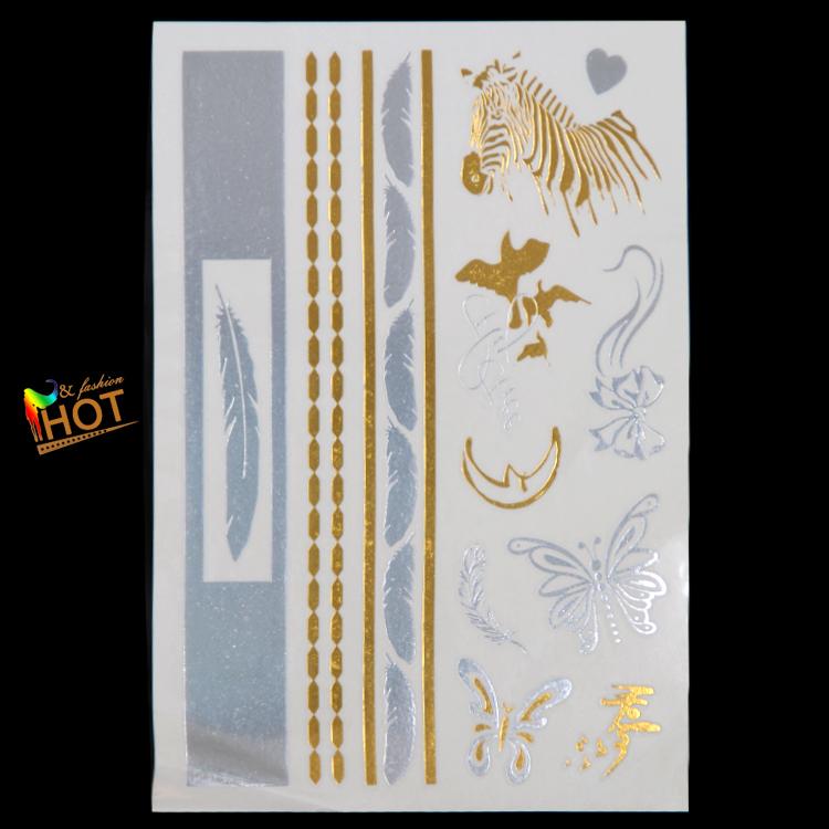 2015 new zebra necklace bronzing temporary waterproof nontoxic tattoo arm tattoo flash disposable body art tattoo(China (Mainland))