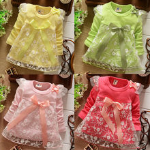 2015 Spring Autumn New Fashion Lace Baby Girls Cotton Dress Big Bow Infants Nice Floral Dresses free shipping(China (Mainland))