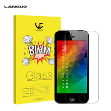 For iPhone 5 5S 5C SE Front and Back Rear Screen Protector Tempered Glass Ballistic Film Protective 9H Hardness Original Box