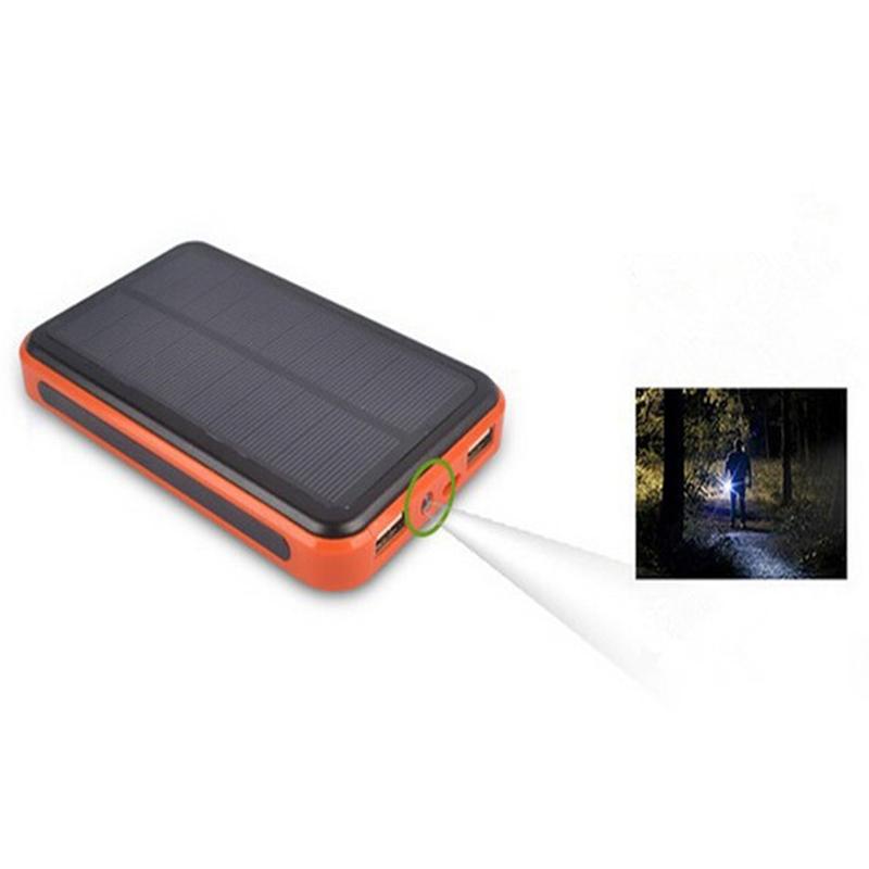 100000 mAh Waterproof Dual USB Solar Charger Power Bank External Battery