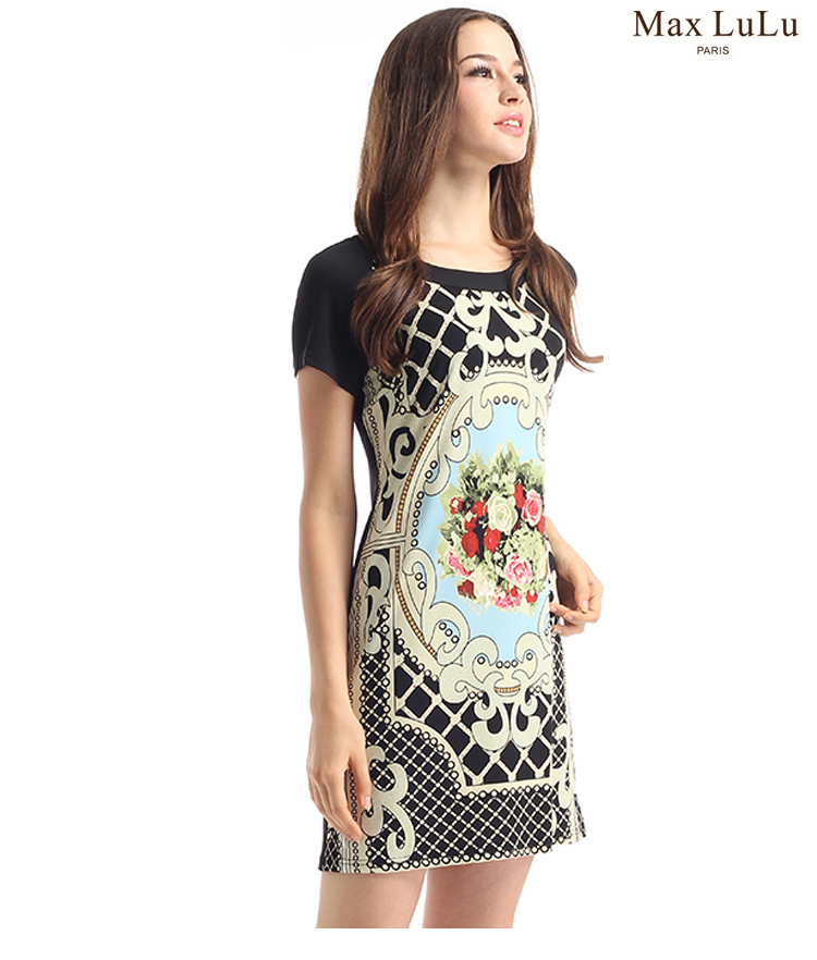 2015 new style lady round collar printed floral pattern short-sleeved dress restoring ancient ways summer t0268 - The silk road Online Store 519062 store