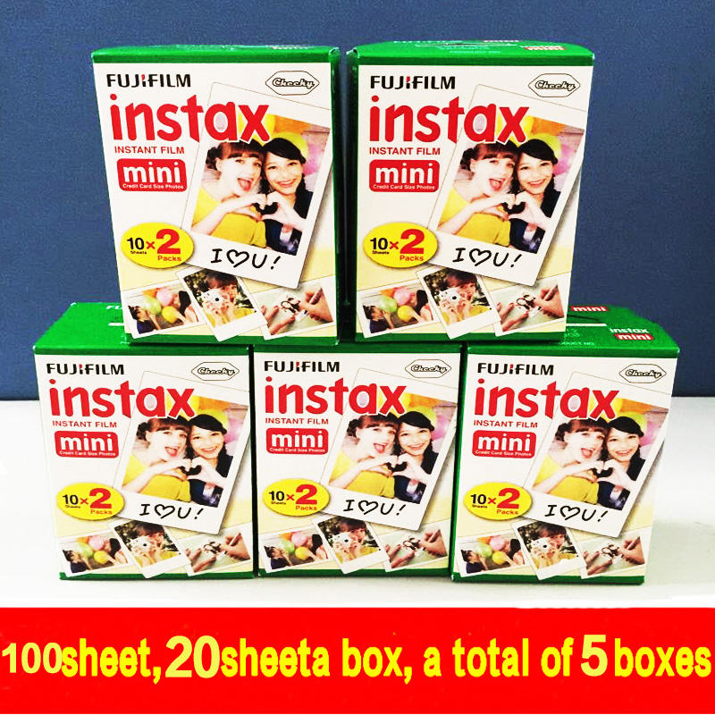 (100 sheets)High quality Original Fujifilm instax mini 8 film for 7S 25 8 50s 90 polaroid instant camera mini film white edage(China (Mainland))