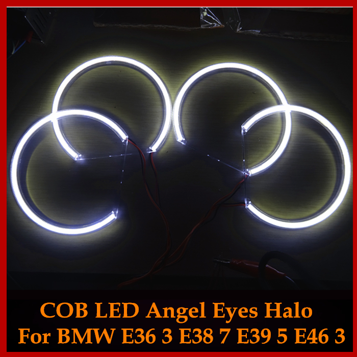 For Bmw E46/E39/E38/E36 3 5 7 series HID Style LED COB Angel Eyes Halo Rings Kit lights 131mm*4 Super Bright White Car Styling<br><br>Aliexpress