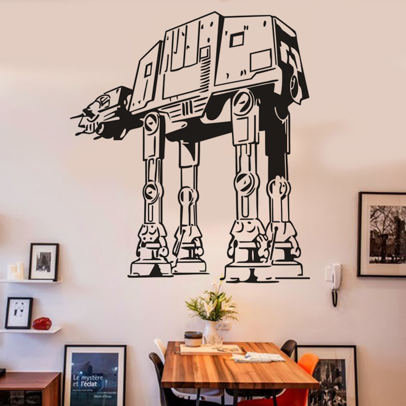 Diy star wars black wall sticker home decor for living for Star wars home decorations