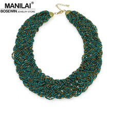 Buy MANILAI Vintage Beaded Handmade Chunky Chain Bib Choker Collar Statement Necklace Boho Ethnic Maxi Necklaces Women 2016 for $4.79 in AliExpress store