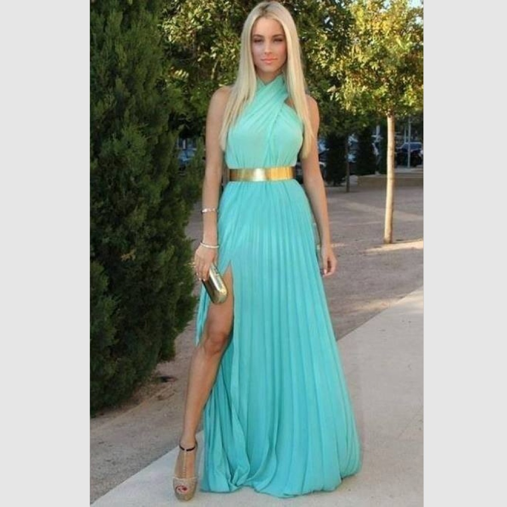 Summer dress turquoise chiffon long evening dress 2015 for Boda en jardin vestidos