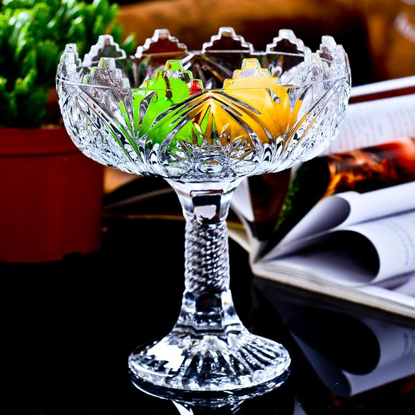 2015 Rushed For Buffet Dishes Talheres Dishes For Restaurant Fashion Large Glass Crystal Fruit Plate Tall Fight Dried Basin Bowl(China (Mainland))