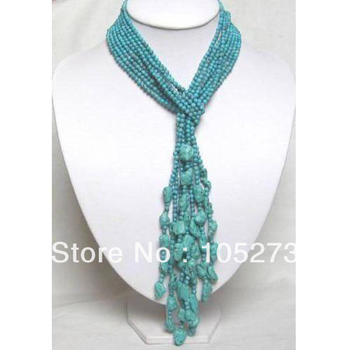 Wholesale Gem Stone Jewelry 50 4-20mm Beautiful 4Rows Turquoise Necklace Fashion Wedding Party Gift Jewelry New Free Shipping<br><br>Aliexpress