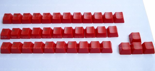 KBC Red Color 37 Pcs Top/Side/Engraved Lettering Colorful Keycap replaceable keycaps for Mechanical Keyboard