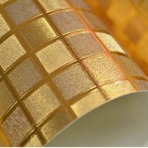 Gold mosaic wallpaper bathroom kitchen waterproof ktv wine for Mosaic wallpaper for walls