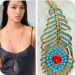 Hello Kitty Mix 10$ N4351 Bohemian retro blue peacock feather long red rhinestone necklace - Jewelry Mall store