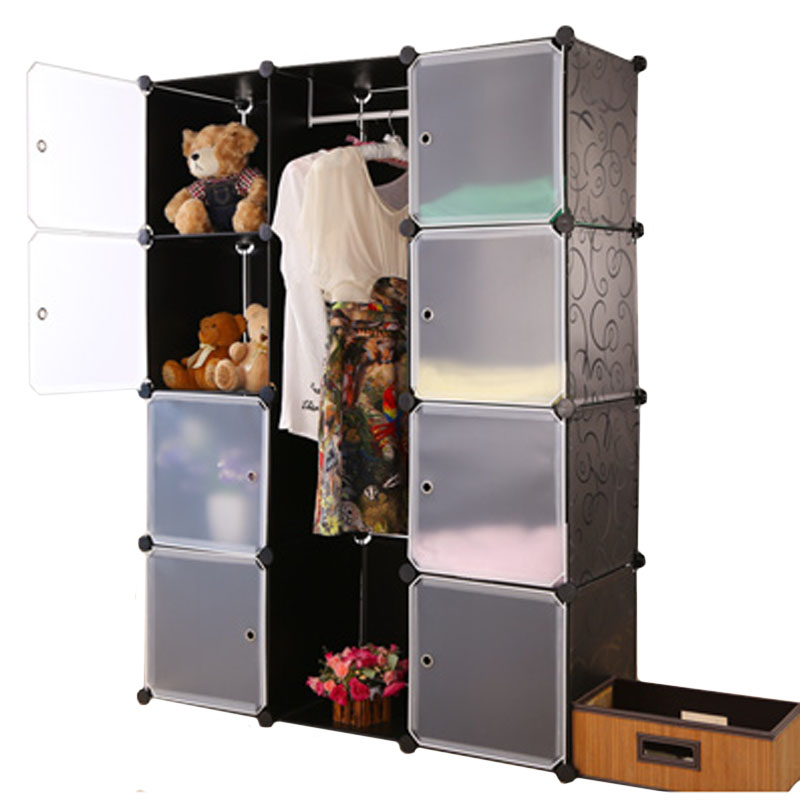 Diy magic film plastic storage wardrobe combination hanging closet storage cabinet finishing home storage cabinet<br><br>Aliexpress