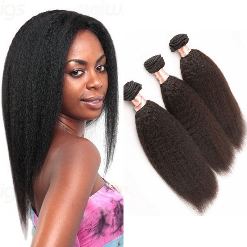 Mongolian Kinky straight virgin hair 3 pieces/lot unprocessed virgin hair extension weaves DHL free<br><br>Aliexpress