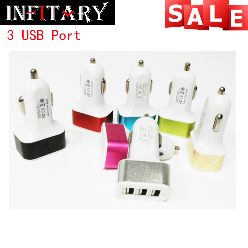 2016 new free shipping 3 USB Car Charger Charge for iPad iPhone iPod sony huawei Mobile Phones other USB Powered Devices(China (Mainland))