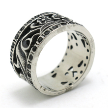 Mens Boys 316L Stainless Steel Punk Gothic Hollow Out Black CZ Flower Silver Ring
