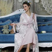 Женский сексуальный кружевной Шелковый халат и платье, комплект для сна, банный халат из двух предметов, 6 цветов, свадебная Пижама подружки ...(China)